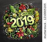 2019 hand drawn doodles chalk... | Shutterstock .eps vector #1210005205