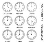 clocks with different time... | Shutterstock .eps vector #1210006702