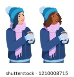cute girls in mittens and scarf ... | Shutterstock .eps vector #1210008715