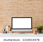 brick wall isolated computer... | Shutterstock . vector #1210014478