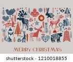 merry christmas card in...   Shutterstock .eps vector #1210018855