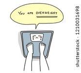 bare feet standing on a weight... | Shutterstock .eps vector #1210031698