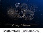 firework show on blue night sky ... | Shutterstock .eps vector #1210066642