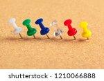 group of thumbtacks pinned on... | Shutterstock . vector #1210066888