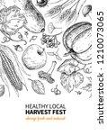 harvest festival. hand drawn... | Shutterstock . vector #1210073065