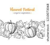 pumpkin seamless pattern. hand... | Shutterstock . vector #1210073068