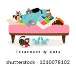 treatment by cats  sick lady in ... | Shutterstock .eps vector #1210078102