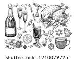 christmas traditional food and... | Shutterstock . vector #1210079725