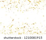 gold shining confetti flying on ... | Shutterstock .eps vector #1210081915