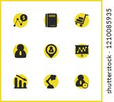 trade icons set with human time ...