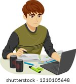 illustration of a teenage guy... | Shutterstock .eps vector #1210105648
