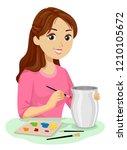 illustration of a teenage girl...   Shutterstock .eps vector #1210105672