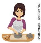 illustration of a teenage girl... | Shutterstock .eps vector #1210105702