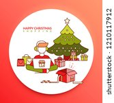happy christmas shopping. a boy ... | Shutterstock .eps vector #1210117912