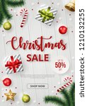 christmas sale banner with... | Shutterstock .eps vector #1210132255