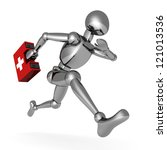 metallic 3d man running with first aid medical box - stock photo