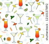 cocktails. seamless pattern... | Shutterstock .eps vector #1210137892