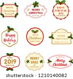 collection of christmas labels. ... | Shutterstock .eps vector #1210140082