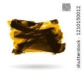 yellow brush stroke and texture.... | Shutterstock .eps vector #1210150012