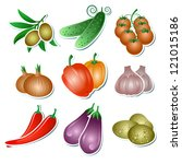 set of vector vegetables... | Shutterstock .eps vector #121015186