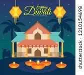diwali deepavali vector... | Shutterstock .eps vector #1210154698