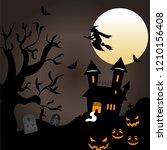 halloween pumpkins under the...   Shutterstock .eps vector #1210156408