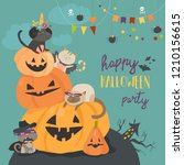 happy halloween with pumpkin... | Shutterstock .eps vector #1210156615