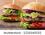 big sandwich   hamburger burger ... | Shutterstock . vector #1210160152