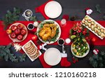 baked turkey. christmas dinner. ... | Shutterstock . vector #1210160218