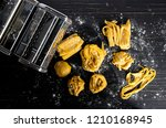 pasta with pasta ingredients on ... | Shutterstock . vector #1210168945