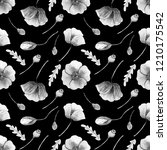 black and white flowers  buds... | Shutterstock . vector #1210175542