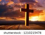 Christian Wood Cross On Sunset...