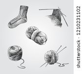 hand drawn knitting sketches... | Shutterstock .eps vector #1210231102
