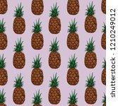 pineapple seamless pattern ... | Shutterstock .eps vector #1210249012