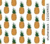 pineapple seamless pattern ... | Shutterstock .eps vector #1210249015