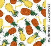 pineapple whole and slices... | Shutterstock .eps vector #1210249018