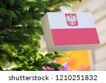 poland flag with the coat of... | Shutterstock . vector #1210251832