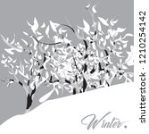 winter landscape illustration | Shutterstock .eps vector #1210254142