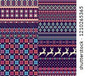 set of seamless sweater patterns | Shutterstock .eps vector #1210265365