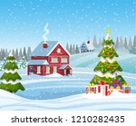 christmas landscape with...   Shutterstock .eps vector #1210282435