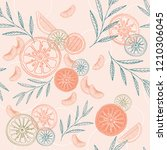 colorful citrus vector seamless ... | Shutterstock .eps vector #1210306045