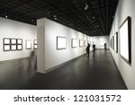 Stock photo frames on white wall in art museum 121031572