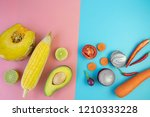 top view of fresh vegetables on ... | Shutterstock . vector #1210333228