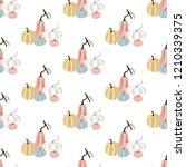 pumpkin seamless pattern on the ... | Shutterstock . vector #1210339375