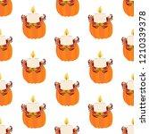 pumpkin seamless pattern on the ... | Shutterstock . vector #1210339378