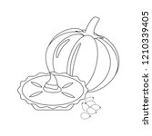 pumpkin pie illustration on... | Shutterstock . vector #1210339405