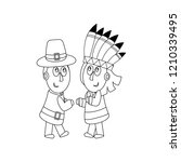 piligrims and indians coloring... | Shutterstock . vector #1210339495