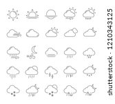 weather forecast linear icons... | Shutterstock .eps vector #1210343125