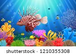 lionfish and coral reefs in the ... | Shutterstock .eps vector #1210355308