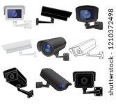 cctv security camera set....   Shutterstock .eps vector #1210372498